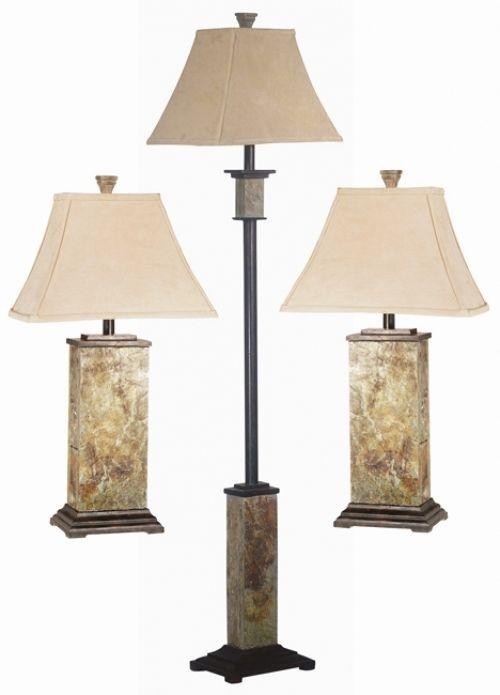 Landon Slate Finish 3 Piece Lamp Set Floor Lamp Table Lamp Reading Lamps New #DesignCraft #Contemporary #Lamp #Set #TableLamp #Decoration