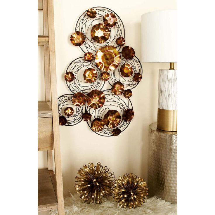 31 in. x 22 in. Modern Copper Gold Iron Rings and Spirals Wall Decor, Yellows/Golds