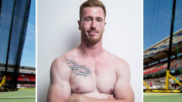Christoph Harting (25) tritt mit ungewöhnlichem Tattoo in Peking an. 2013 bei seiner WM-Premiere kam er auf Platz 13