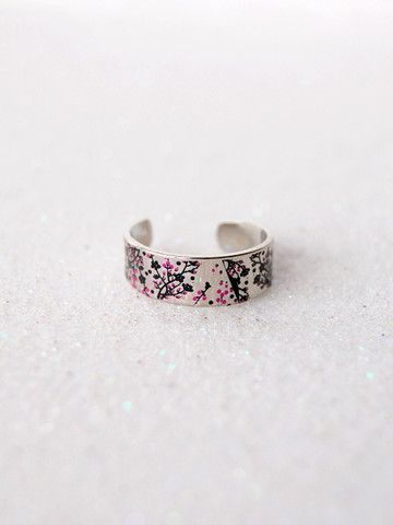 Silver Cherry Blossom Ring | Black Tied