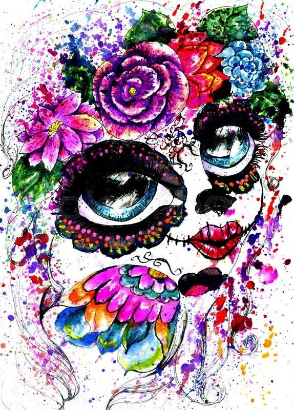 Stock image of 'Girl with sugar skull makeup in flower crown, watercolor painting.'