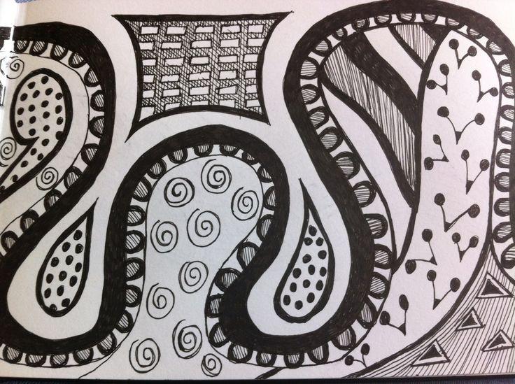Black ink pen pattern doodle I did