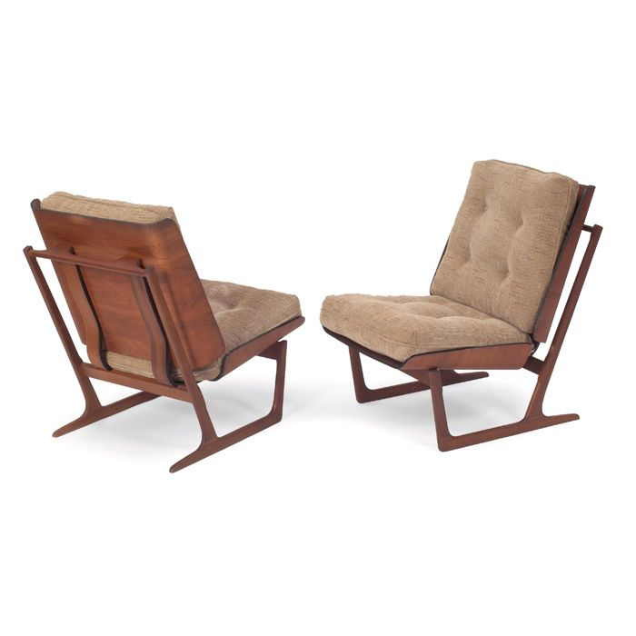 Grete Jalk; DK - Molded Teak Plywood and Solid Teak Lounge Chairs, 1950s.