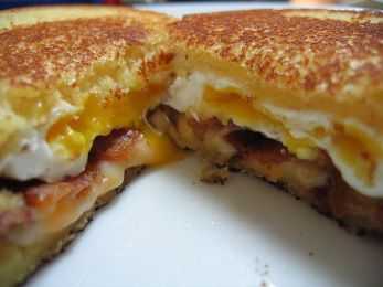 Grilled Cheese Sandwich with Bacon and Fried Egge