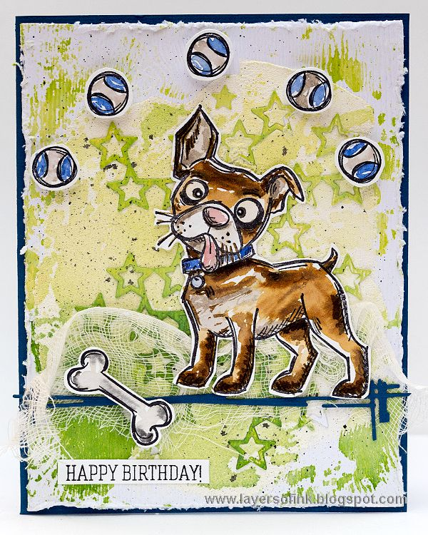 Layers of ink - Crazy Dog Card by Anna-Karin. Made with stamps by Tim HOltz and…