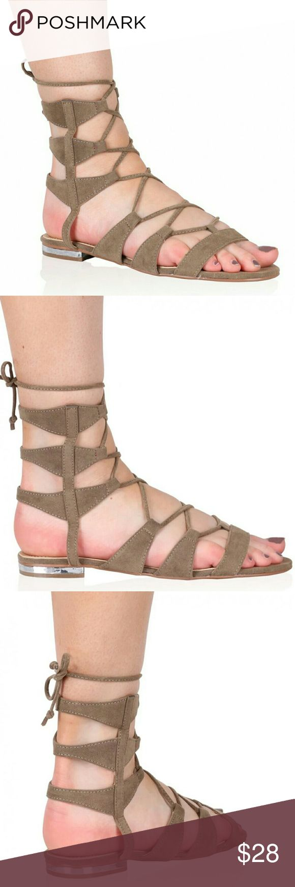 Taupe flat gladiator sandals Flat gladiator lace up sandals. Taupe faux suede. New in box. PD Shoes