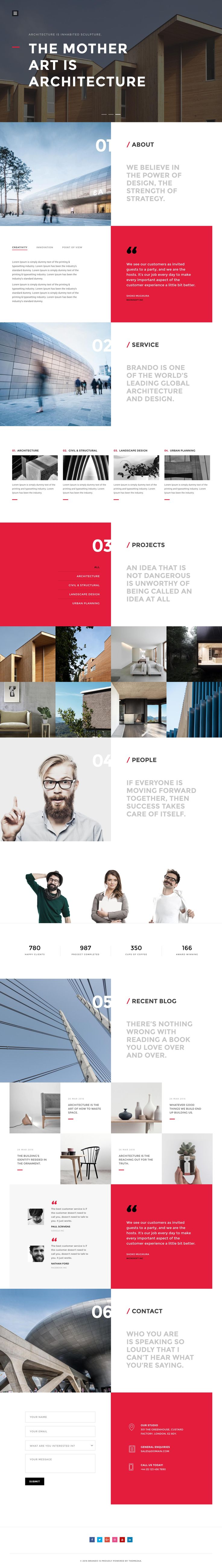 'Brando' is a One Page WordPress theme with 10 pre-made layouts, covering multiple industries. The design is definitely above par for a WordPress theme with great typography and lovely whitespace – in all the layouts. My favorite is the Architecture option featured here. Additional layouts include digital agency, personal page, spa, photography, wedding, restaurant, travel and even includes a neat launching soon page. Great to know the WordPress theme comes with Visual Composer page builder valu