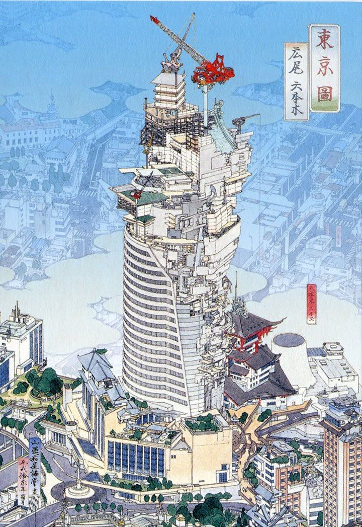Yamato-e Metropolis by Akira Yamaguchi  These metropolises are surreal and discordant in which the old fuses with the new. The classical style initially fools the eye, until you notice elements that are out of place: machinery, guns, trucks...