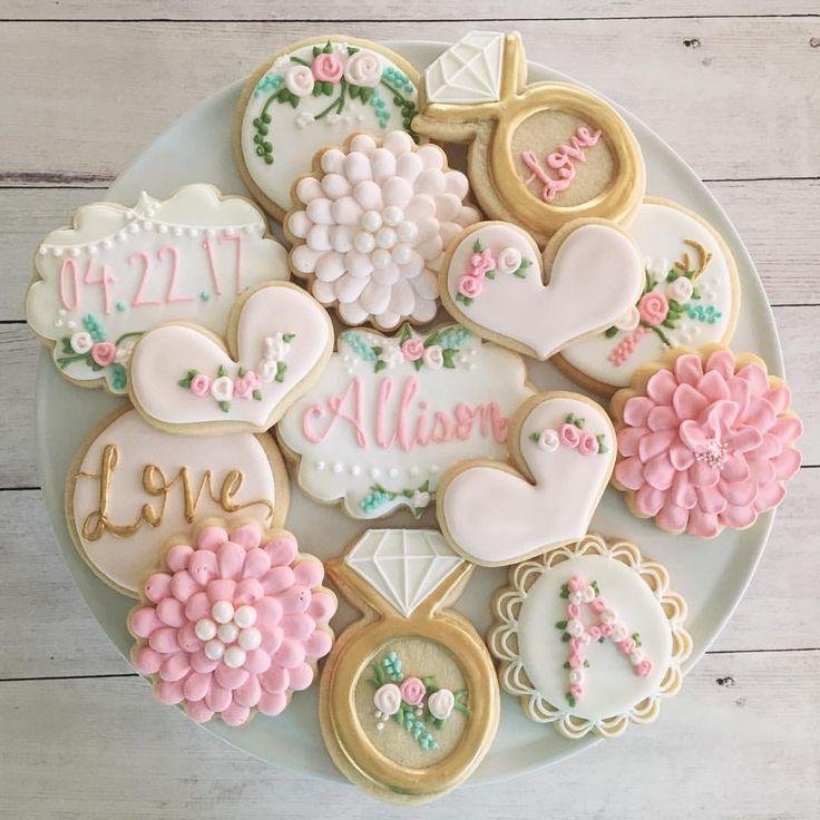 "76 Likes, 7 Comments - Milk & Honey Cakery (@milkhoneycakery) on Instagram: ""Another shot of these bridal cookies!  #milkandhoneycakery #sugarcookies #decoratedcookies…"""