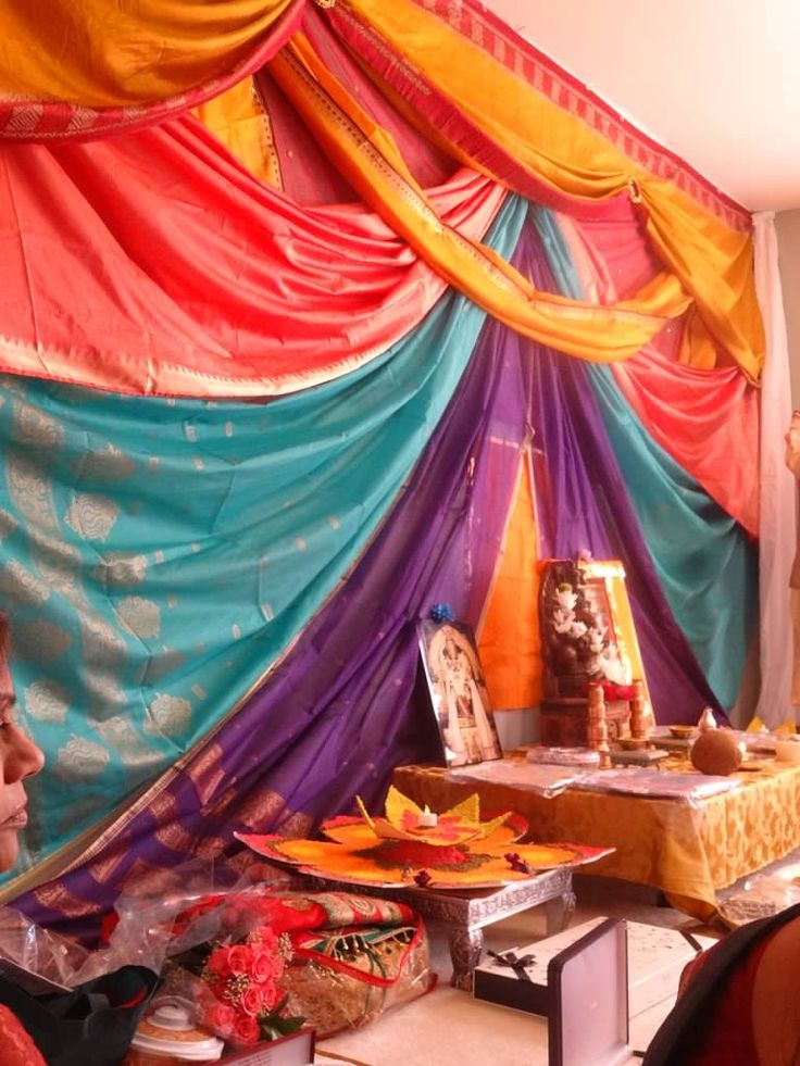 Saree decorations, backdrop, engagement ceremony, Indian