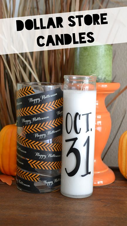 Dress up a few dollar store candles with Halloween-themed Washi tape and a Sharpie.