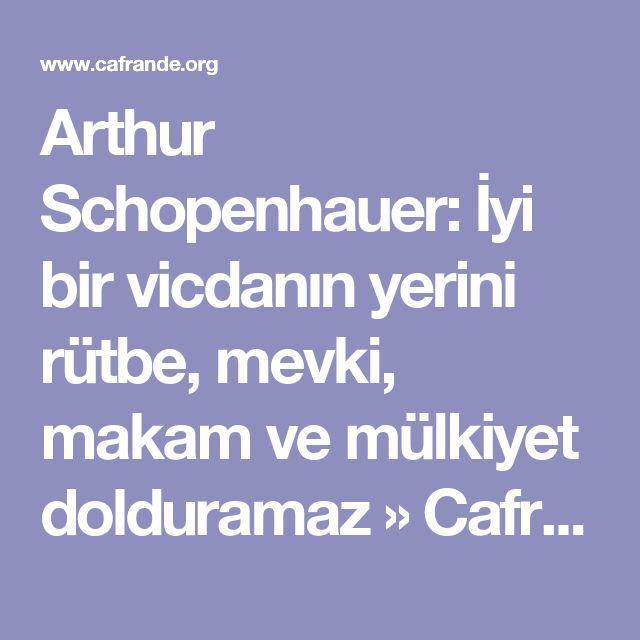 Arthur Schopenhauer: İyi bir vicdanın yerini rütbe, mevki, makam ve mülkiyet dolduramaz » Cafrande Kültür Sanat ve Hayat