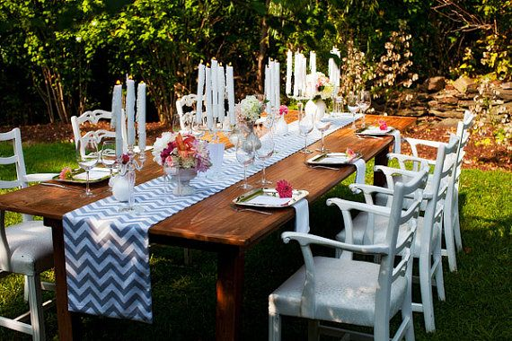LOVE the chevron table runner!: Table Settings, Wedding Inspiration, Small Wedding, Wedding Ideas, Chevron Table Runners, White Chevron, Tablescape, Wedding Table Runners