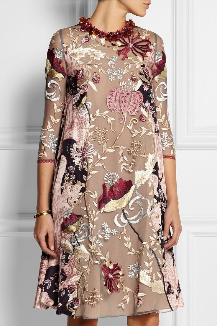 Biyan | Lotta embroidered tulle and silk dress | NET-A-PORTER.COM