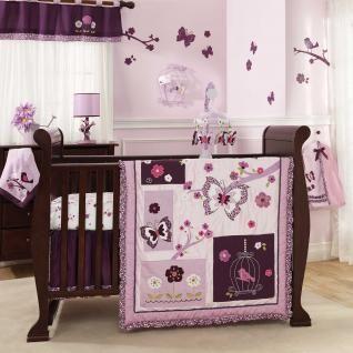 purple butterfuly baby bedding | Purple and Lavander Butterfly Bird Baby Girl 5pc Nursery Crib Flower ...