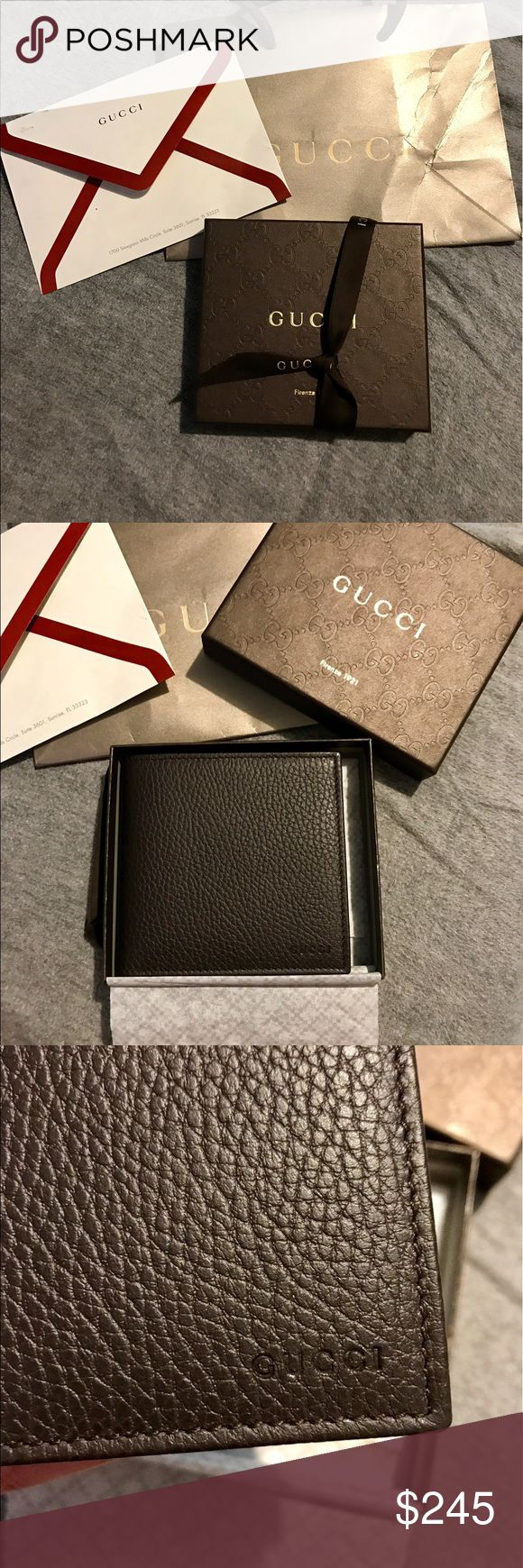 Gucci wallet Men's Gucci wallet! Never been used comes with all items shown in photo! Great gift for Father's Day  ! Can ship immediately . Wallet is authentic , do not have receipt anymore but serial number in last photo! Make a reasonable offer please keep in mind the % for PM! Gucci Bags Wallets