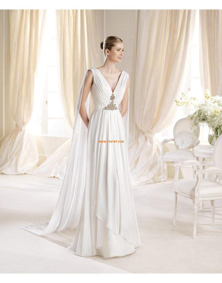 Mousseline polyester Sans manches Naturel Robes de mariée de luxe