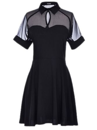 Pinterest: @MagicAndCats ☾ Shirt Dress With Sheer Mesh Panel #black #style #fashion