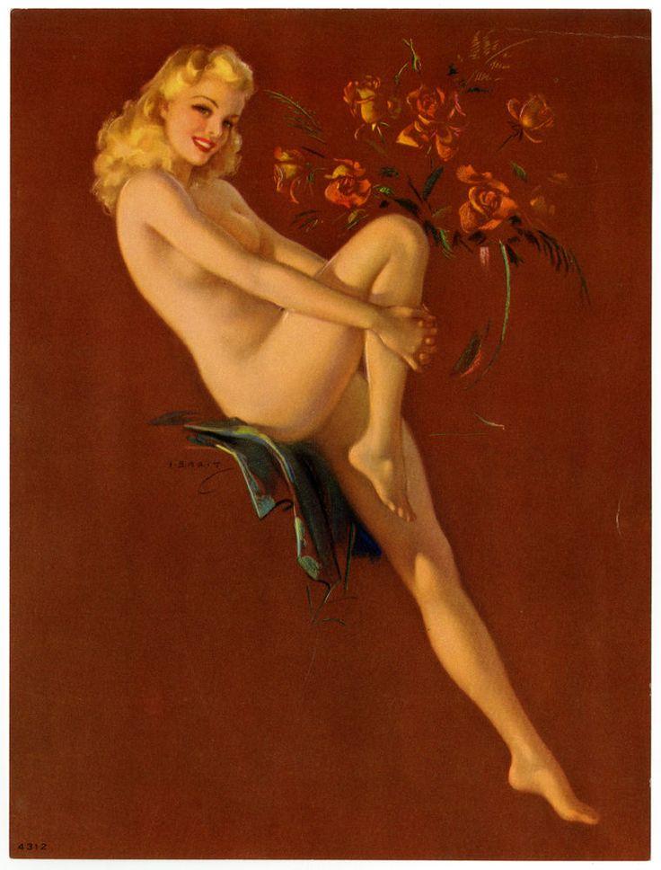 1940s Jules Erbit Vintage Art Deco Risque Pin up Print Nude Embossed Curves Fine #ArtDeco