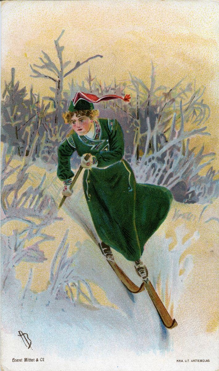 Postkort. Jule- og nyttårshilsen. Vintermotiv. Kvinne på skitur kledd i skidrakt med skjørt.