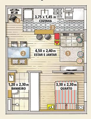 Revista MinhaCASA - Deu até pra fazer um escritório neste apê de 33 m²!
