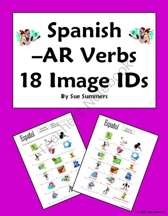 spanish ar verbs 18 vocabulary ids worksheet from sue summers on 2 pages. Black Bedroom Furniture Sets. Home Design Ideas
