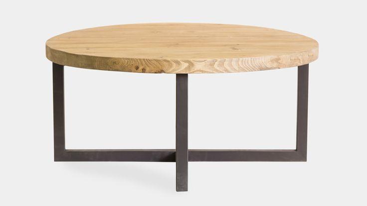 Mesa de centro redonda, con estrucura de hierro y tapa en madera maciza de abedul. Medidas 100x100xh.45PVP 640,00€