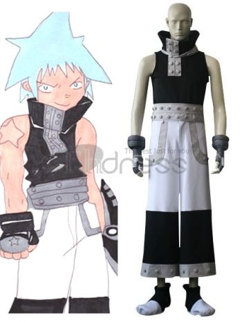 Soul Eater Black Star Cosplay Costume, Today, the costume fashion has grown so much in popularity that it can be found even in department stores all over the world. Are you ready to outstanding and unique? You should cherish this chance. This costume is combining magical tones of black and white, which is filled with great beauty. What a perfect costume! How can you unmoved when you see such an art. Make you the same as Black Star in this Soul Eater cosplay costume for cosplay show.