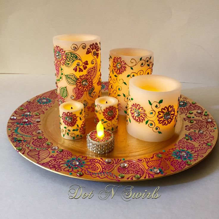 Flameless LED candle set / 7 piece with henna art / unique/ perfect for wedding…