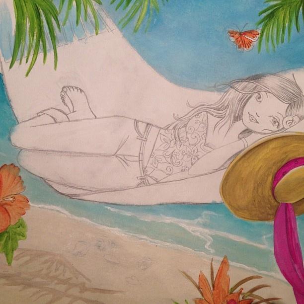 Cartita Design #cartitadesign #illustration #fashionillustration #painting #beach #summer #hammock #Padgram