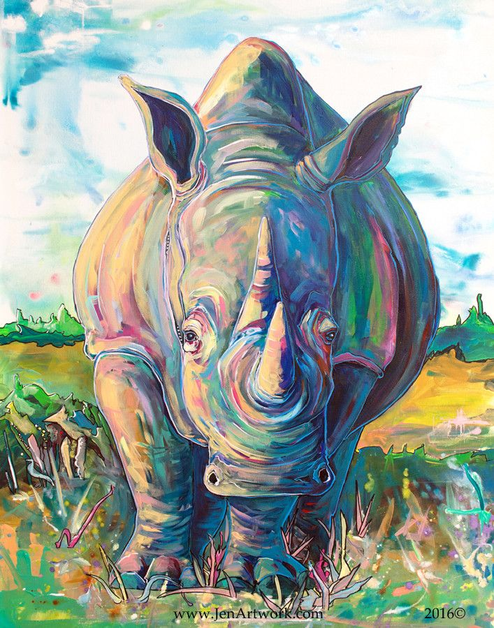 """""""Rhino Journey""""-$1400.00 Original Painting by Jen Callahan. This painting was done on a 30""""x 40"""" gallery wrapped stretched canvas with 1 1/2"""" sides. The sides of the canvas are painting. My canvas pai"""