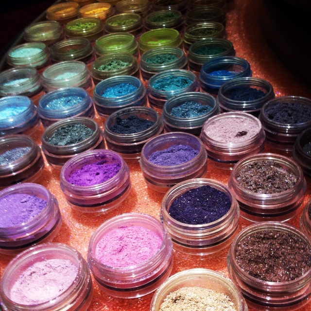 Bare Minerals eye shadow carousel. Better than a candy store. I'm kind of obsessed.