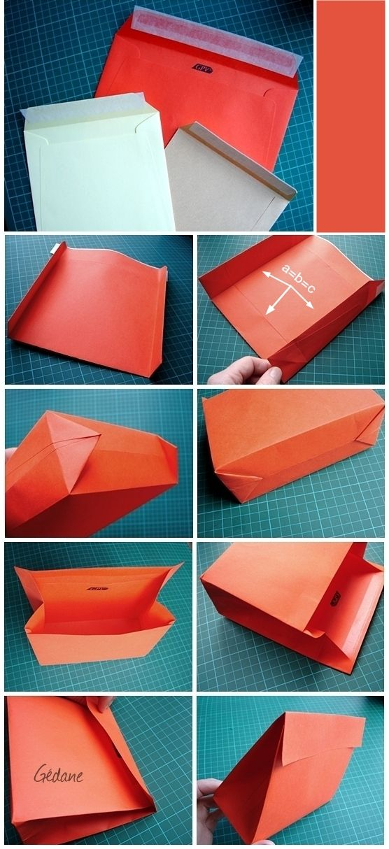 Make a small gift bag from a greeting car envelope. Most of this blog is in French but most pictures are self-explanatory.