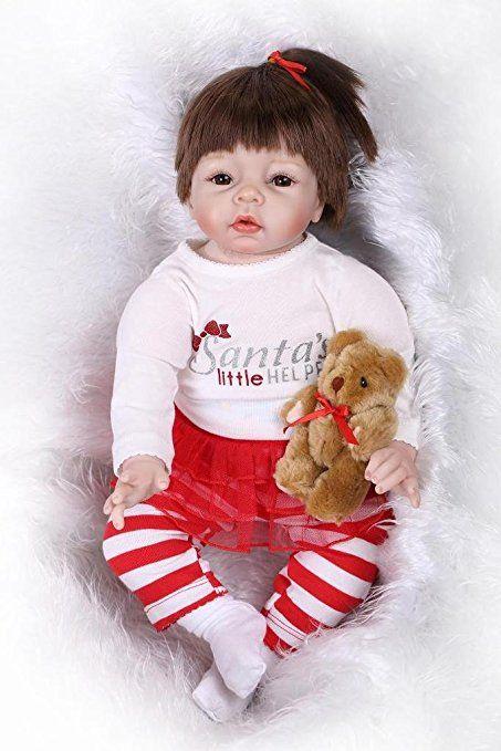 Nicery Reborn Bambola molle del bambino di simulazione del silicone vinile 22 pollici 55 centimetri parrucca magnetica Bocca realistica giocattolo sveglio dei bambini Santa rossa alta con acrilico occhi Regalo di Natale Reborn Doll
