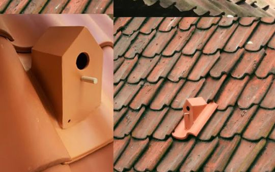 Bird house roof tiles by Klaas Kuiken--a subtle solution to accommodate city birds. The roof tiles are made of terracotta with a small house perched on top where the bird can nest in.