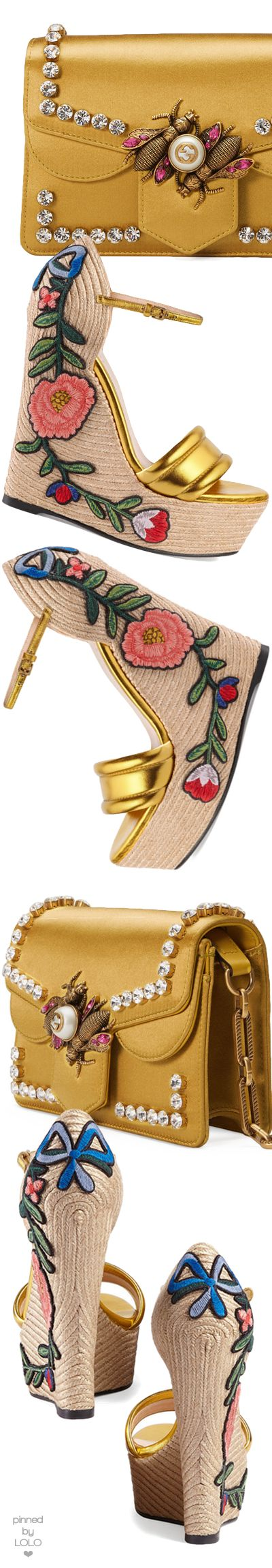 #gucci  Embroidered metallic leather platform espadrilles and Broadway Satin Bee Shoulder Bag