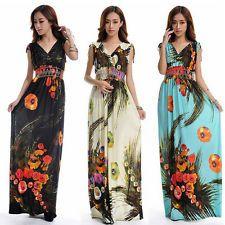 Women Bohemian Vneck plus size 6XL Milk Print Floral Summer Maxi Long Dress M630