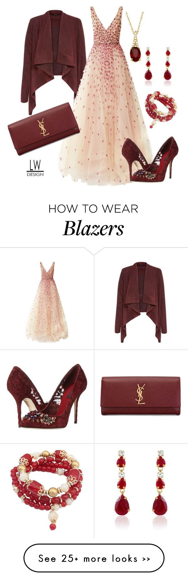 """Burgundy Accents"" by kashmier on Polyvore featuring Monique Lhuillier, Dolce&Gabbana, Yves Saint Laurent, gown, eveningwear and leatherwooddesign"