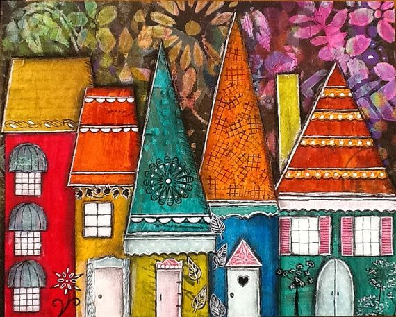 """Original Artwork Mixed Media Collage """"My Street"""" Series Colorful Blue Red Yellow Green"""