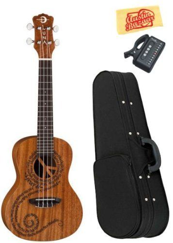 """Luna Maluhia (Peace) Concert Ukulele Bundle with Hardshell Case, Tuner, and Polishing Cloth by Luna. $139.00. Bundle includes Luna Maluhia (Peace) Concert Ukulele, Hardshell Case, Tuner, and Polishing Cloth.Maluhia means peace in Hawaiian. The Peace design on this concert uke is a very special one for us here at Luna as it embodies a philosophy we hold dear. It features a laser cut peace sign at the sound hole and the word """"peace"""" in different languages forming a..."""
