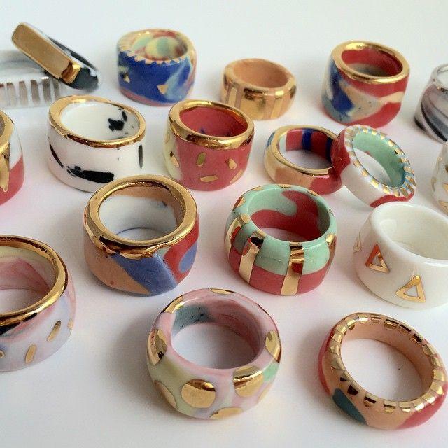 Preciosas sortijas de ceramica esmaltada!!