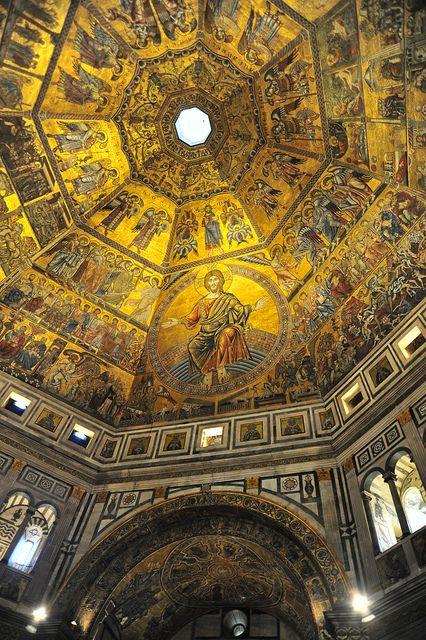 Baptisterio de San Juan, o san Giovanni en Florencia, 1225, techo de mosaico