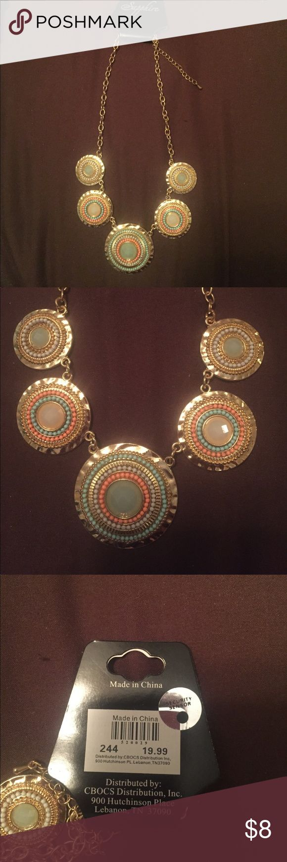 Gold bubble necklace new with tags Gold bubble neck lace with coral and mint green accents - new with  tags sapphire Jewelry Necklaces