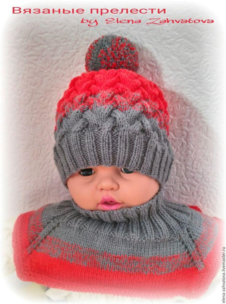 Купить Комплект,шапочка с градиентом и манишка - серый, с градиентом, комплект вязаный, шапочка вязаная
