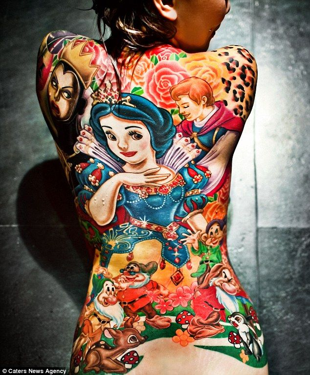 Ready for a marathon three month tattoo session? Then maybe this Snow White and the Seven Drawfs Tat is for you.