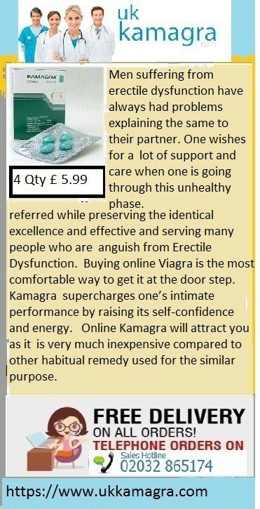 Economical Kamagra is a hit as far as cost is referred while preserving the identical excellence and effective and serving many people who are anguish from Erectile Dysfunction. Buying online Viagra is the most comfortable way to get it at the door step. Kamagra supercharges one's intimate performance by raising its self-confidence and energy. Online Kamagra will attract you as it is very much inexpensive compared to other habitual remedy used for the similar purpose.