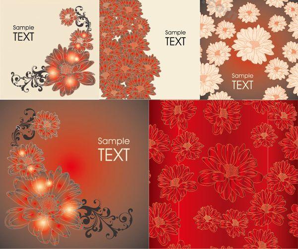 Hyun red decorative pattern background design vector