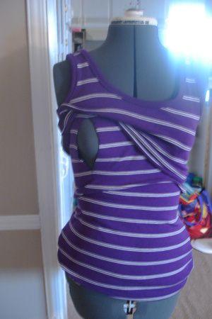 DIY Nursing or breastfeeding top tutorial. SO EASY. Super cheap.