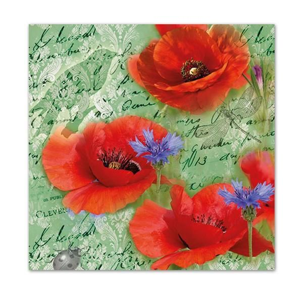Decoupage Paper Napkins Scrapbooking Poppies 3ply Card Making x 2