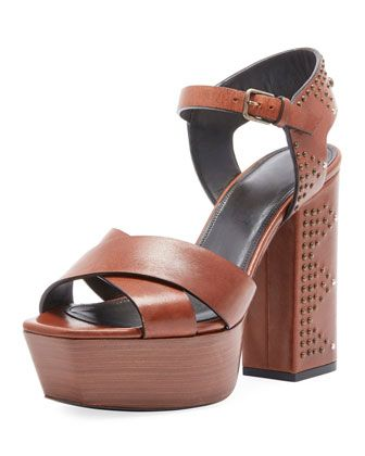0b7184189e4a Farrah Studded Leather Platform Sandal by Saint Laurent at Bergdorf Goodman.